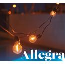 Guirlande 10 ampoules solaires ou secteur pour extérieur Design Allegra