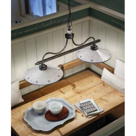 Suspension double en céramique peinte à la main Design Asti