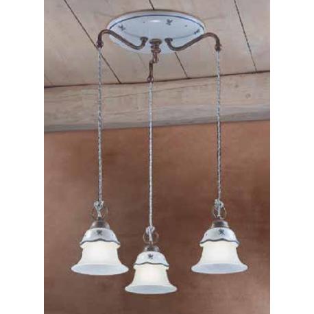 Suspension triple en céramique peinte à la main Design Ferrara