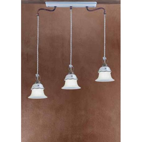 Suspension triple linéaire en céramique peinte à la main Design Ferrara
