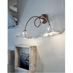 Applique double avec abats jour en céramique peints à la main Design Lecco