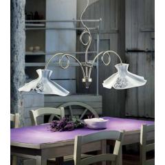 Suspension double avec abats jour en céramique peints à la main Design Lecco