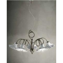 Chandelier 3 ou 5 bras avec abats jour en céramique peints à la main Design Lecco