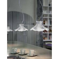 Suspension avec abat jour en céramique peint à la main Design Lecco Quat