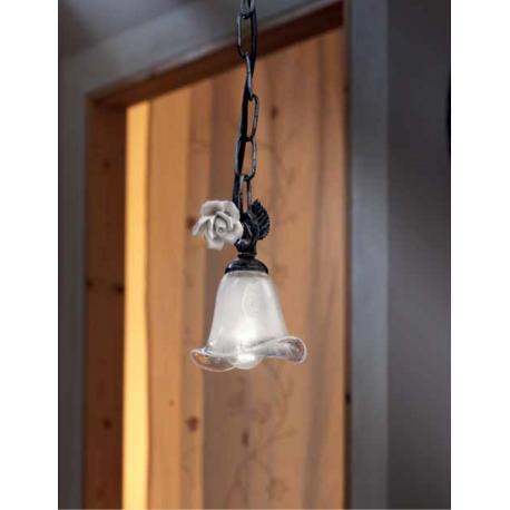 Suspension en verre, feuilles métal et céramique peinte à la main Design Sienna