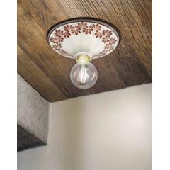 Plafonnier rond en céramique peinte à la main Design Trieste