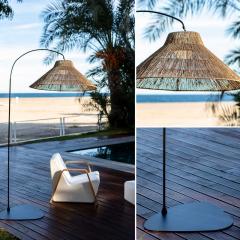 Lampadaire d'extérieur sans fil en fibres naturelles Design Niza