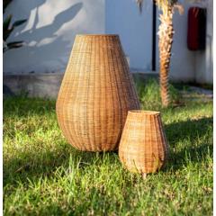 Lampe d'extérieur sans fil en fibres naturelles Design Saona