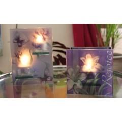 """Photophore en verre, motif """"papillons"""""""