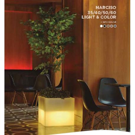 Jardinière couleur ou lumineuse solaire Design Cube Narciso