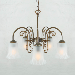 Lustre traditionnel 5 bras col de cygne Design Medan