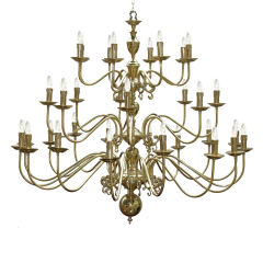 Lustre Chandelier flamand monumental 18 + 8 + 8 bras Design Flemish bougies