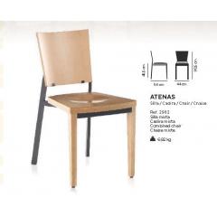 Chaise mixte acier/bois Design Atenas