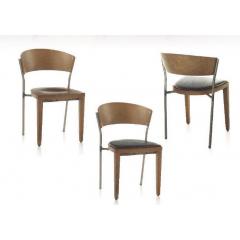 Chaise mixte acier/bois Design Carla