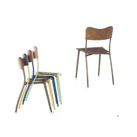 Chaise Mixte Acier Bois Empilable Design Helena