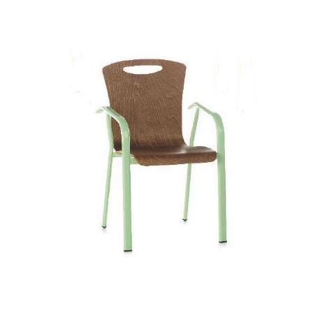 Chaise mixte acier/bois Design Grego