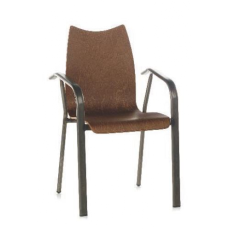 Chaise mixte acier/bois Design Pastor