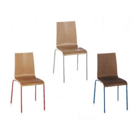 Chaise mixte acier/bois Design Fenix