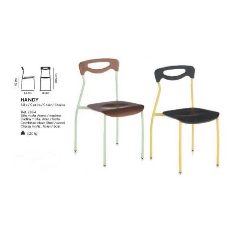Chaise empilable mixte acier/bois Design Handy
