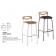 Tabouret de bar mixte acier/bois Design Handy