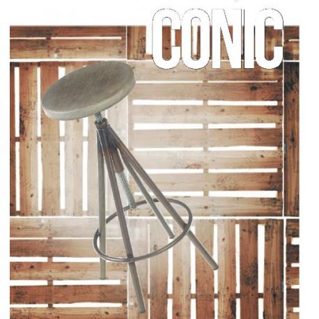 Tabouret de bar mixte acier/bois Design Conic