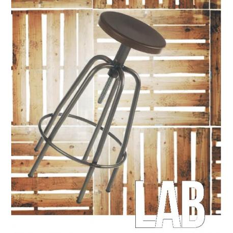 Tabouret de bar mixte acier/bois Design Lab