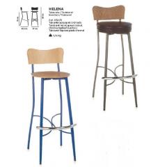 Tabouret de bar mixte acier/bois avec repose pieds Design Helena