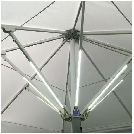 Eclairage à Led Symoled pour parasol professionnel
